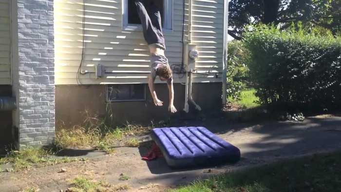air mattress protects a stunt person