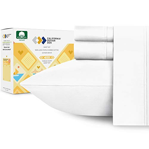 California Design Den 400-Thread-Count Full-Size Bed Sheets, Pure White
